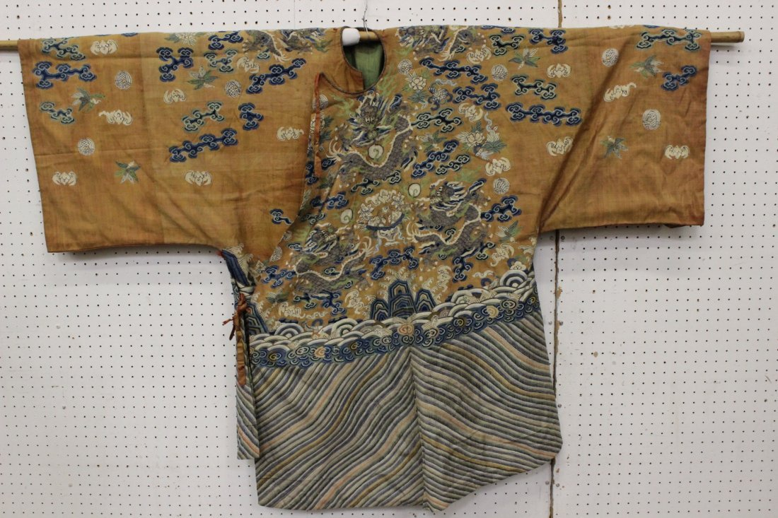 An important Chinese antique kesi dragon robe
