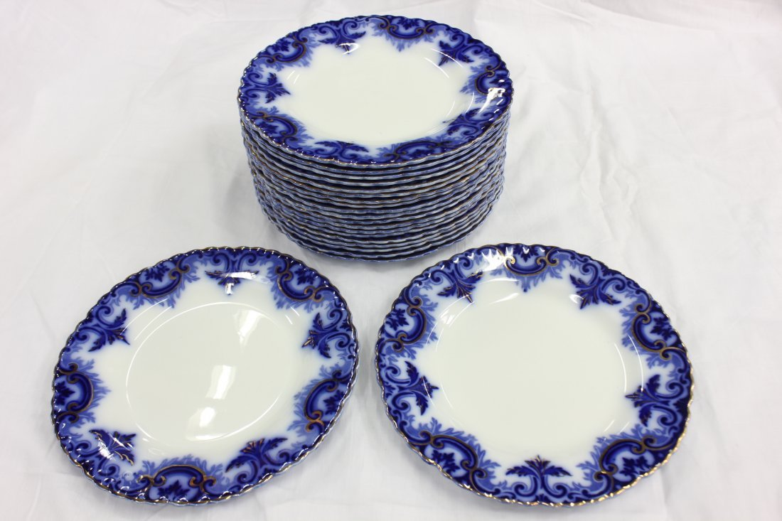 Partial set of Victorian flow blue china - 3