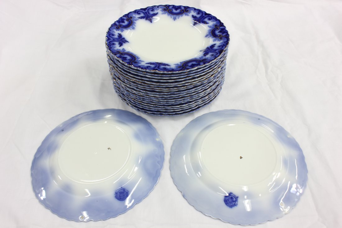 Partial set of Victorian flow blue china - 4