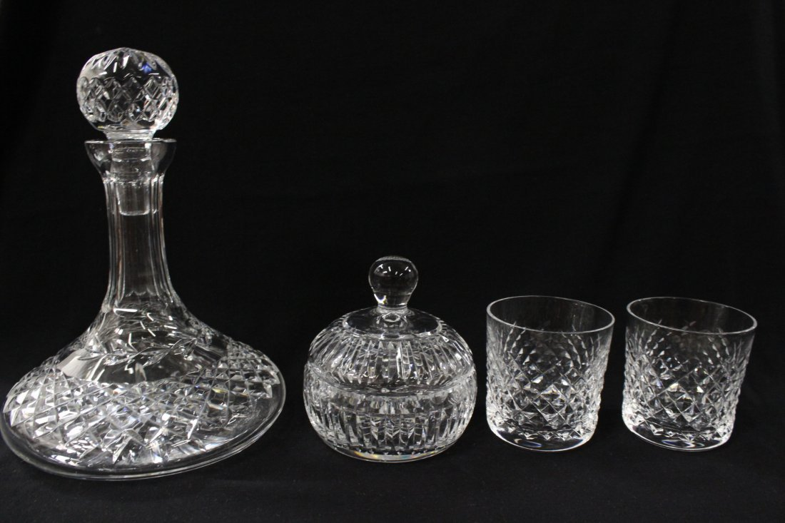 Waterford decanter, 2 waters, & covered box
