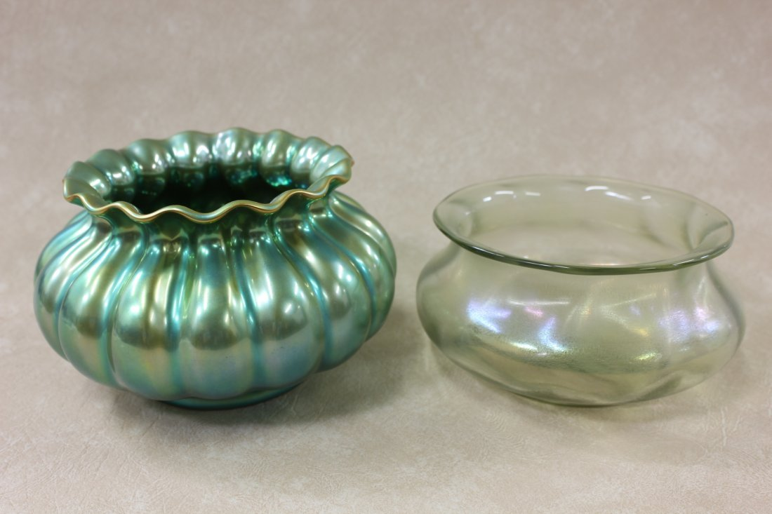 luster bowl by Lotz & a luster bowl by Zsolnay