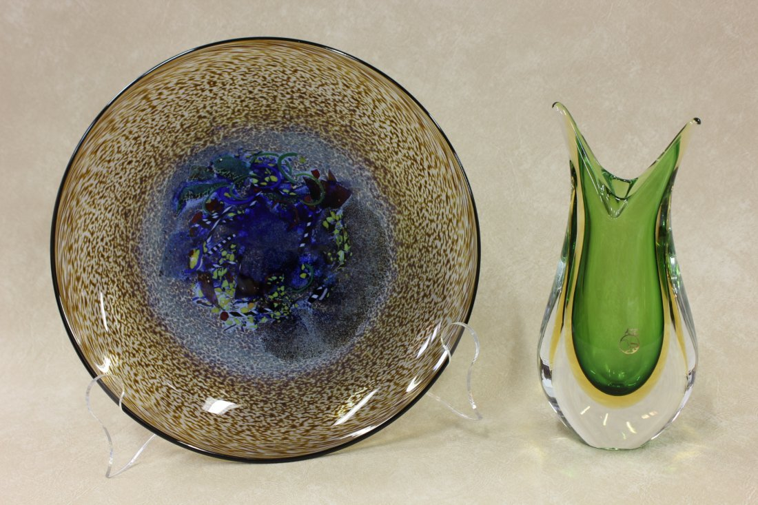 a signed Costa Boca plate & a Murano glass vase