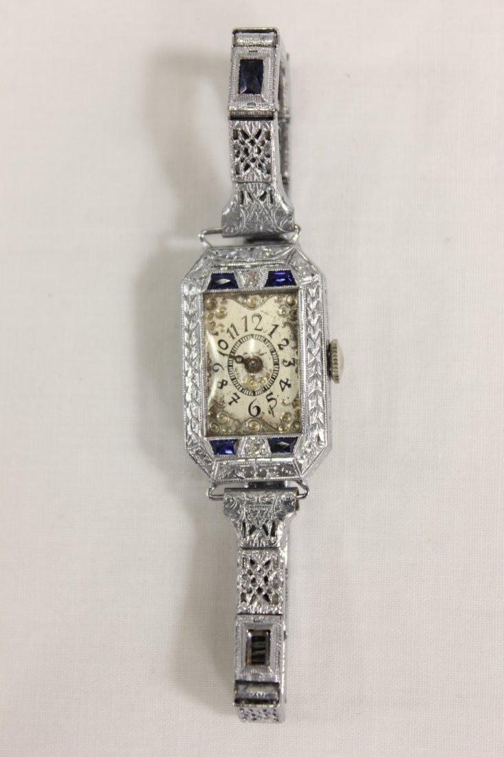 Art deco 14K W/G lady's watch by Bruner