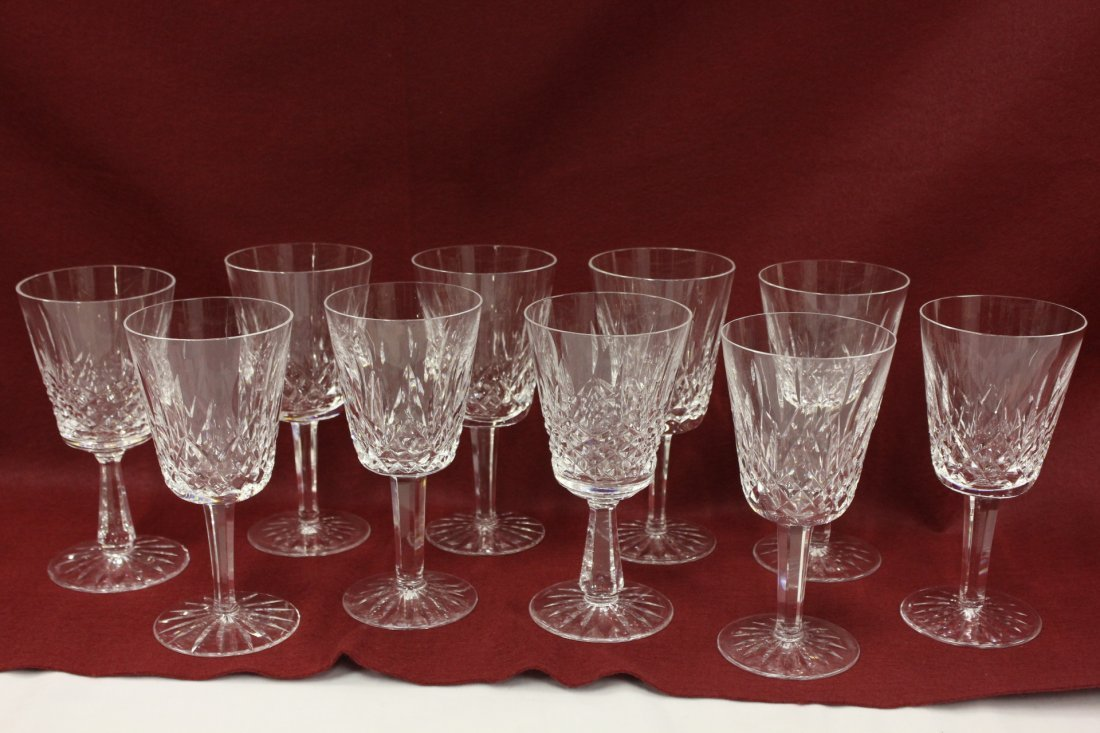 10 Waterford crystal wine goblets