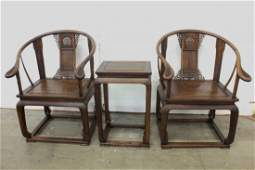 Pr Chinese huanghuali wood armchairs & center table