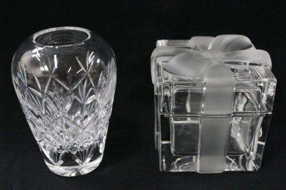 A crystal box & a crystal vase by Tiffany & co