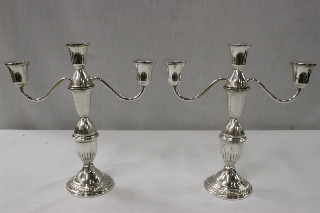 Pair weighted sterling silver candelabra