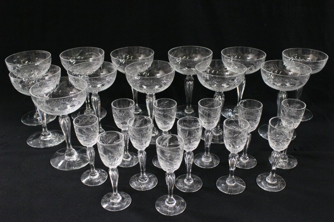 24 depression glass wine goblets