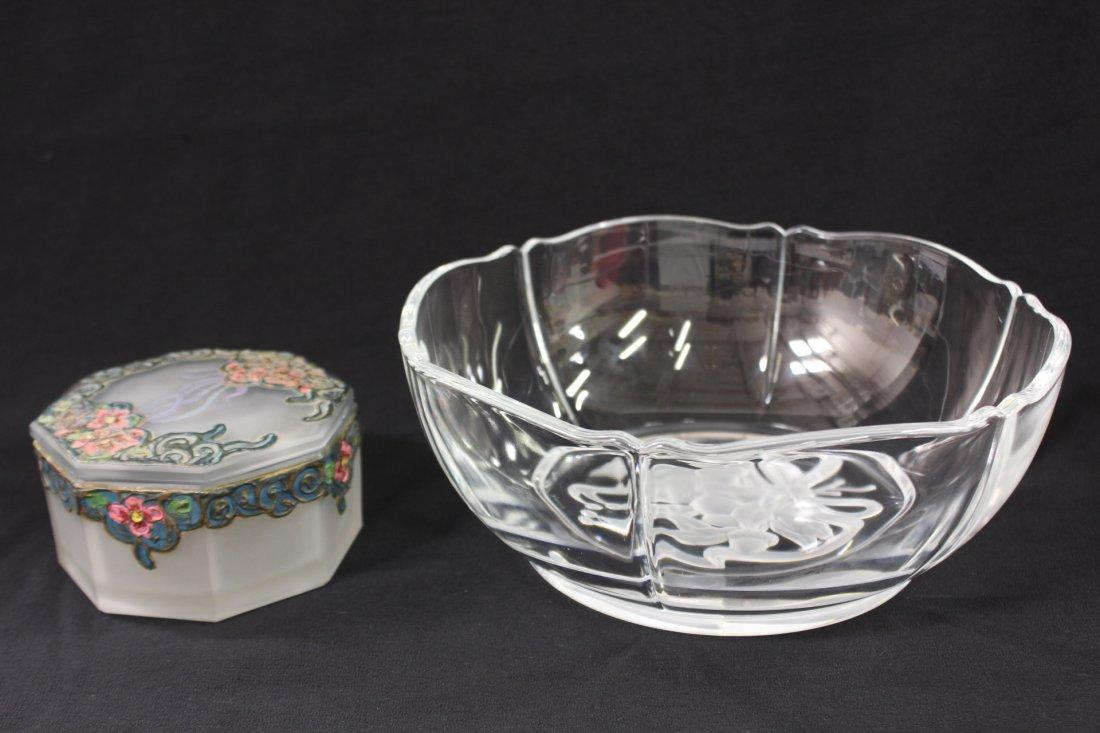 Tiffany crystal bowl w/ box & art nouveau glass box