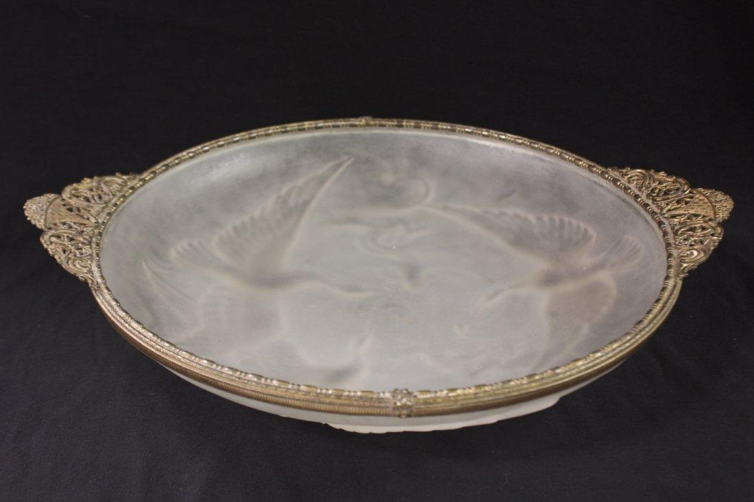 A fine frosty art glass round tray with ormolu