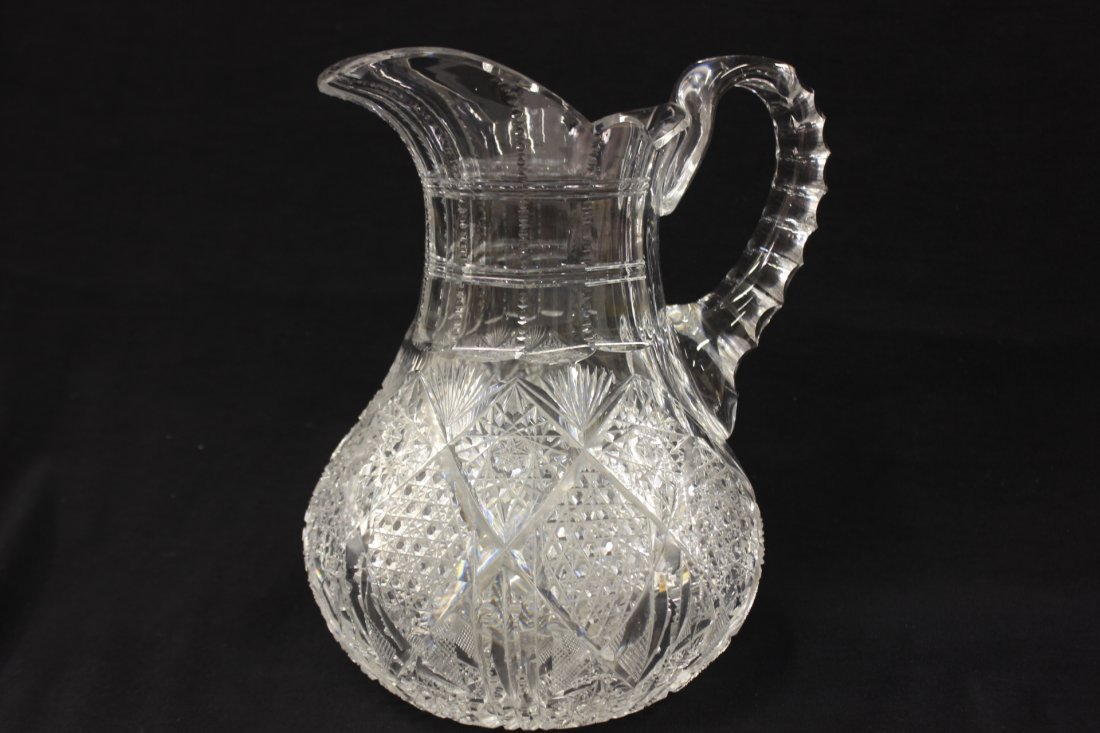 A fine brilliant cut crystal pitcher