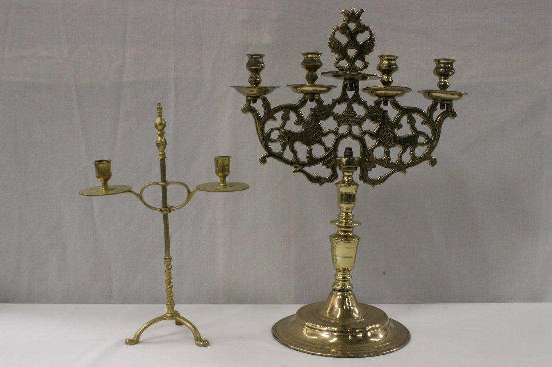 2 antique English brass candelabra