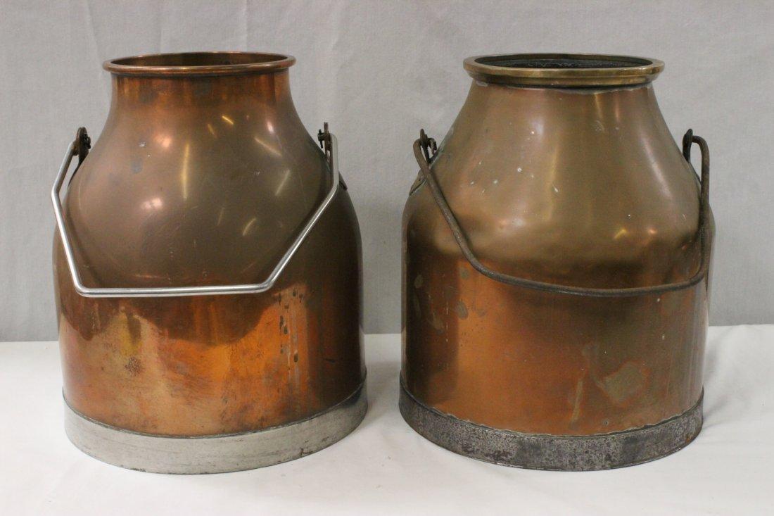 2 antique English copper milk can