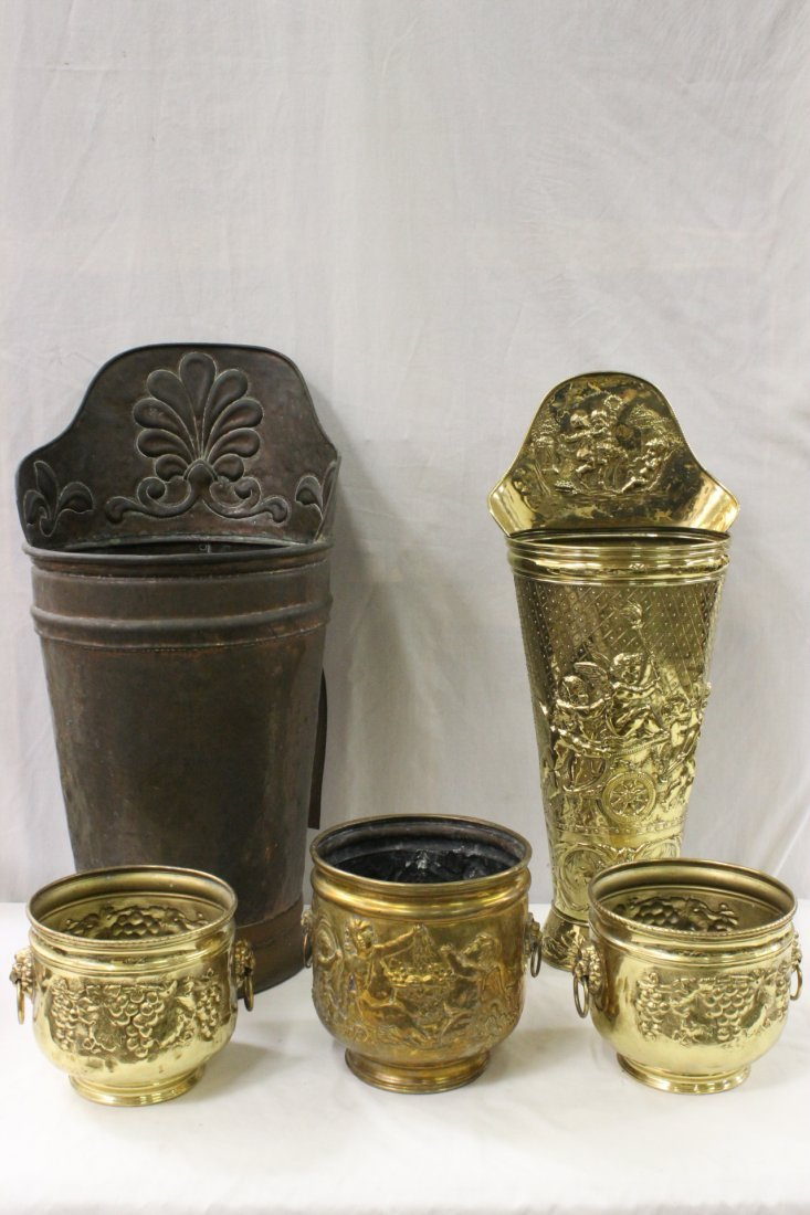 3 antique English brass pots, and 2 umbrella stands