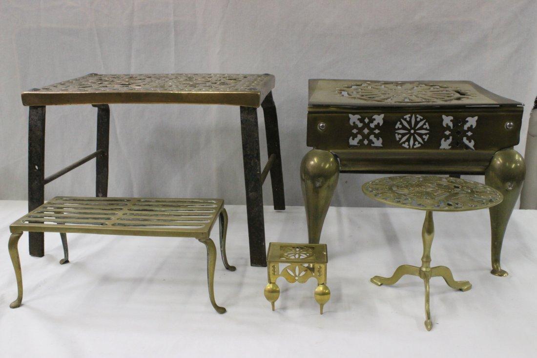 5 antique English brass trivets