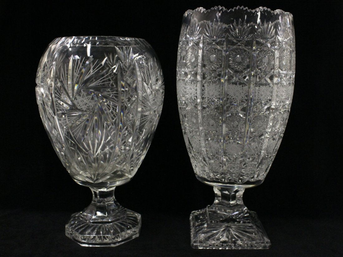 2 cut crystal vases