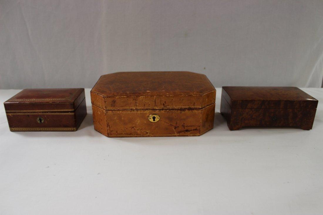 A Swiss made music box, & 2 leather jewelry box