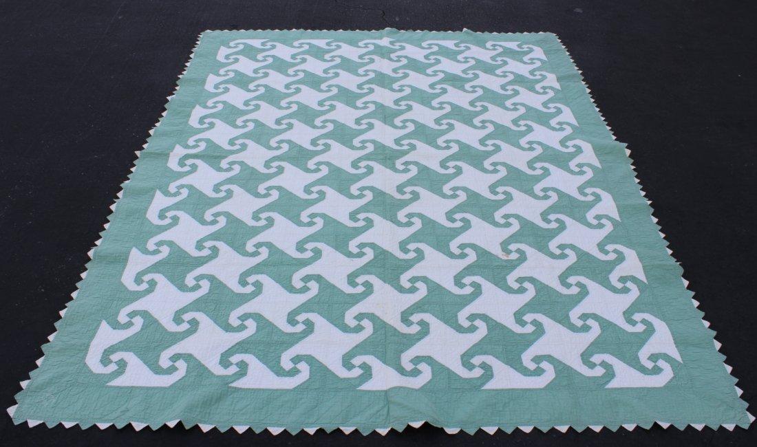 American antique quilt in geometric design