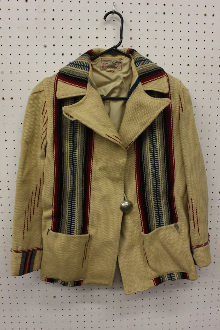 A lady's Chimayo blanket coat w/ sterling button