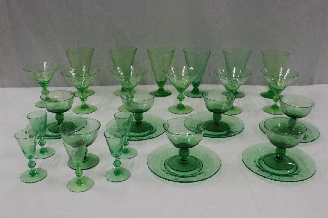 Lot of depression emerald glasses, total 30 pc