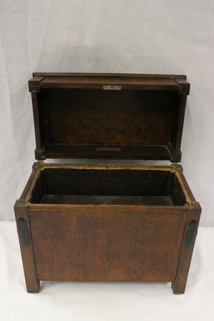 Antique burl walnut document box