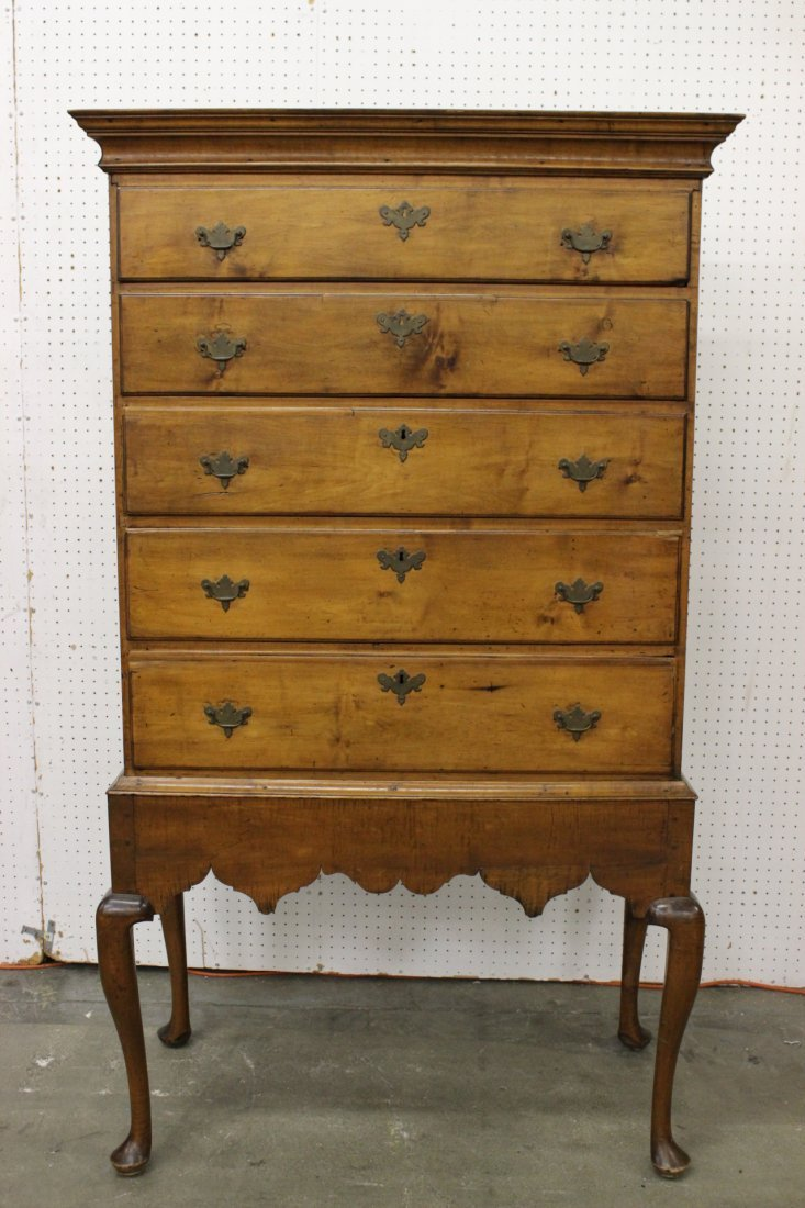 early Amer. New England maple chest on stand