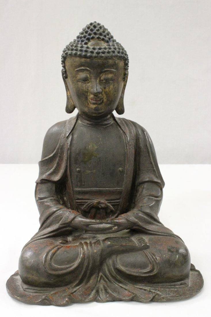 Chinese antique gilt & lacquered bronze Buddha