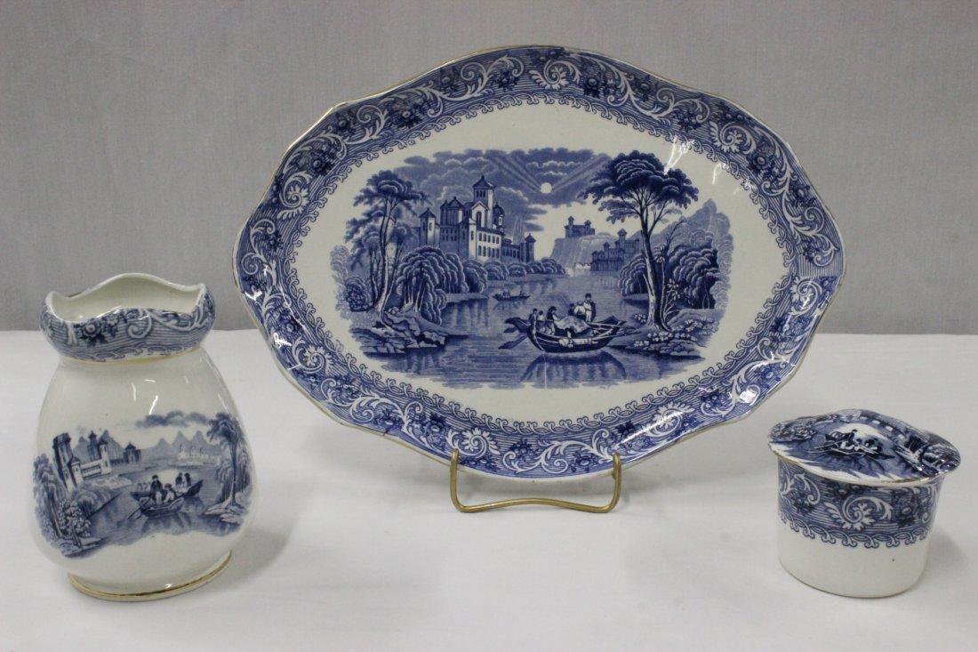 3pc English antique flow blue porcelain