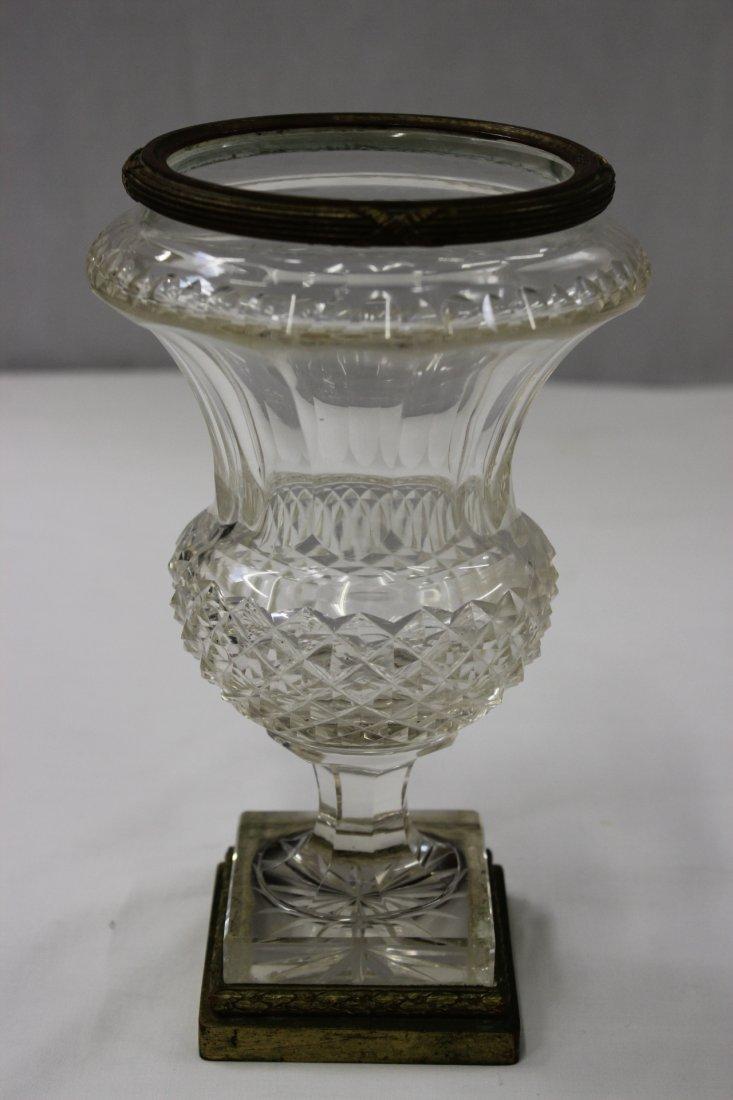 Continental antique crystal vase with bronze ormolu
