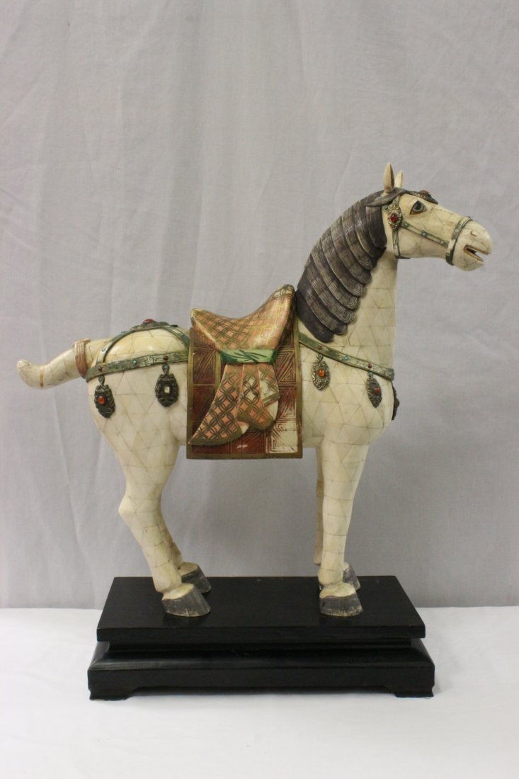 lg Chinese bone plaque applied horse w/ jewels