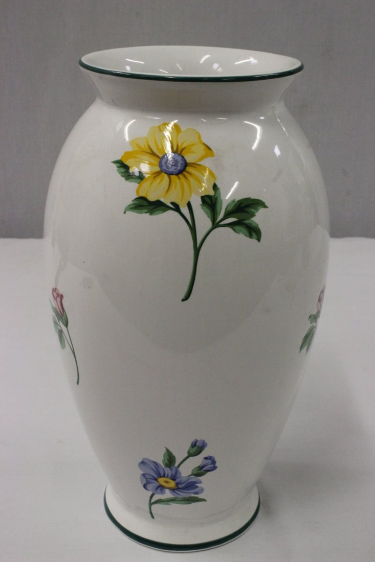 Porcelain vase painted with flowers by Tiffany and co.