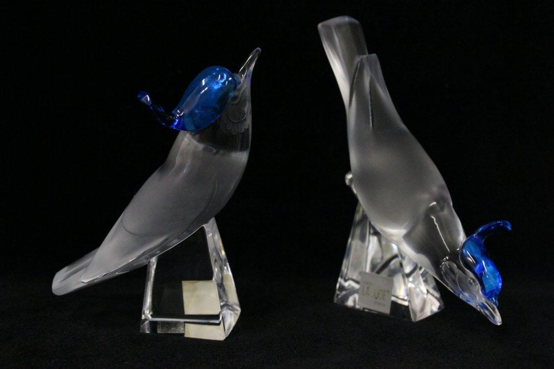 Pair Lalique crystal birds