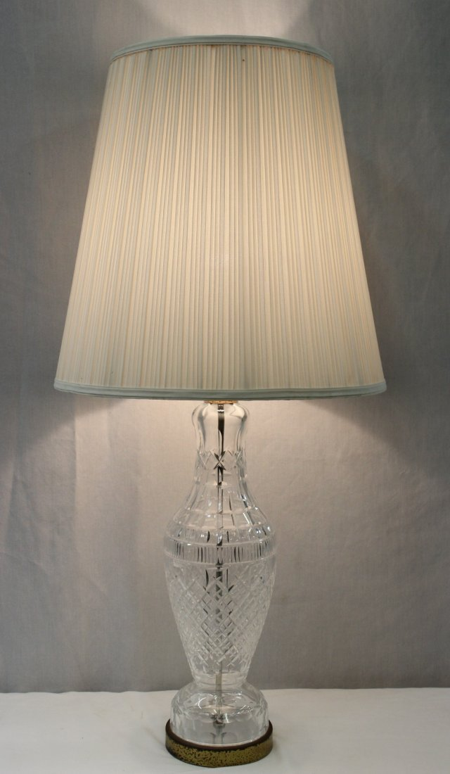 A large Waterford crystal table lamp with shade