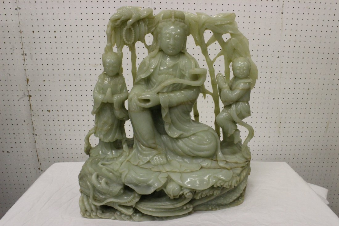 large Chinese Hetien jade carved Guanyin w/children