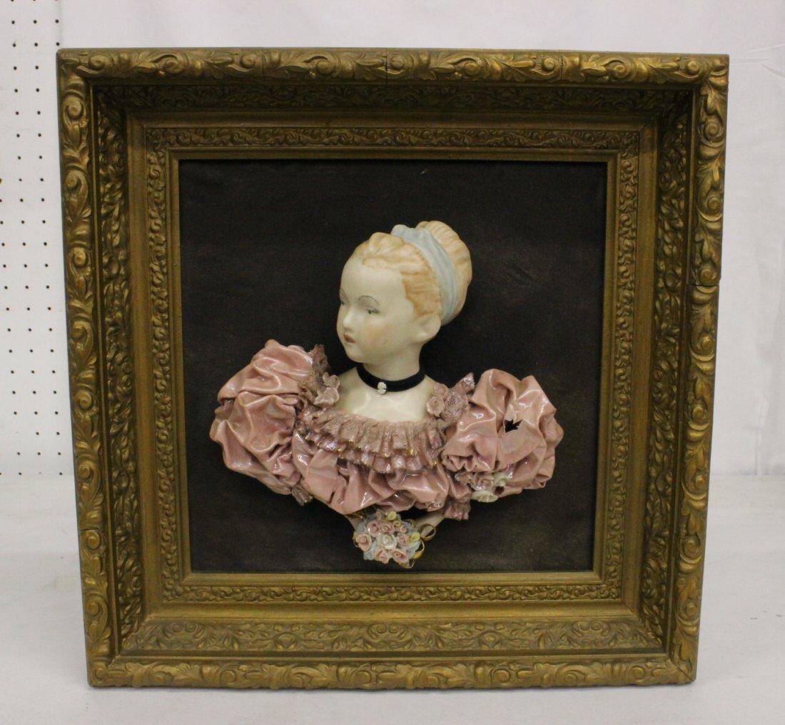 Framed Capodimonte style porcelain plaque