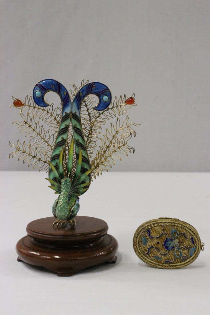 Chinese enamel wired silver peacock & a box