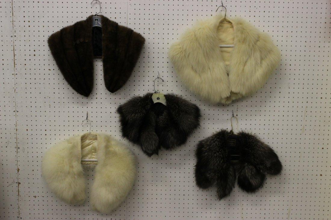2 fox collars, 2 wolf collars and a mink collar