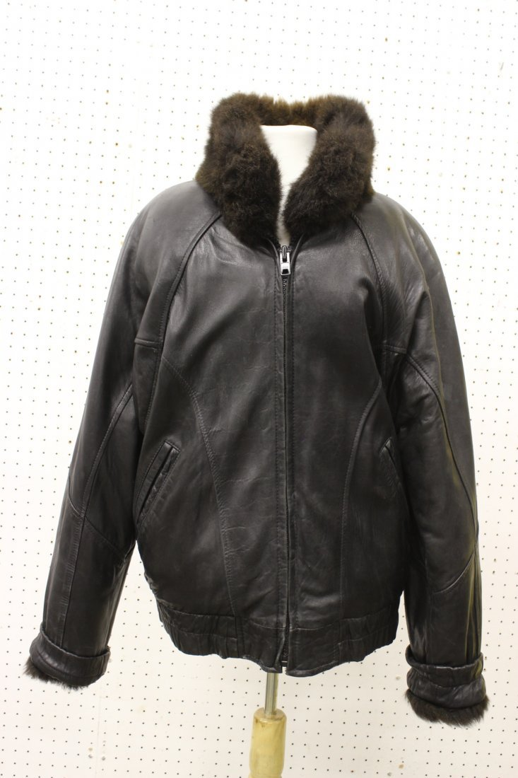 Man's leather jacket with fur linen