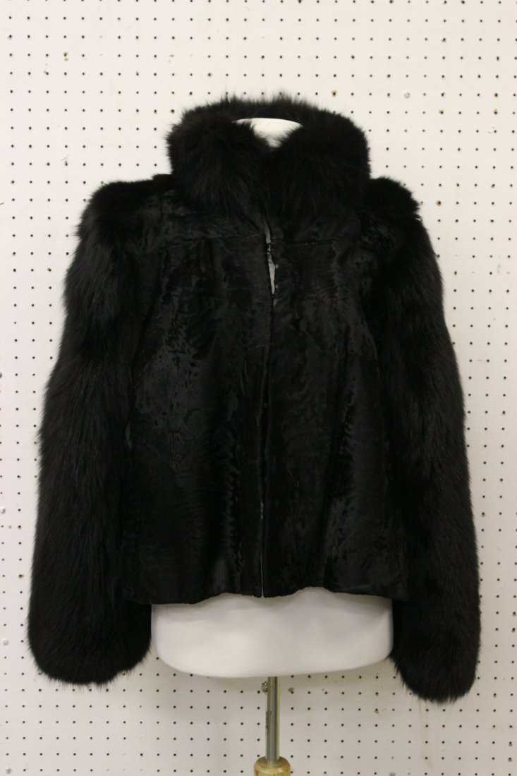 Lady's broadtail jacket with dyed fox collar and sleeve