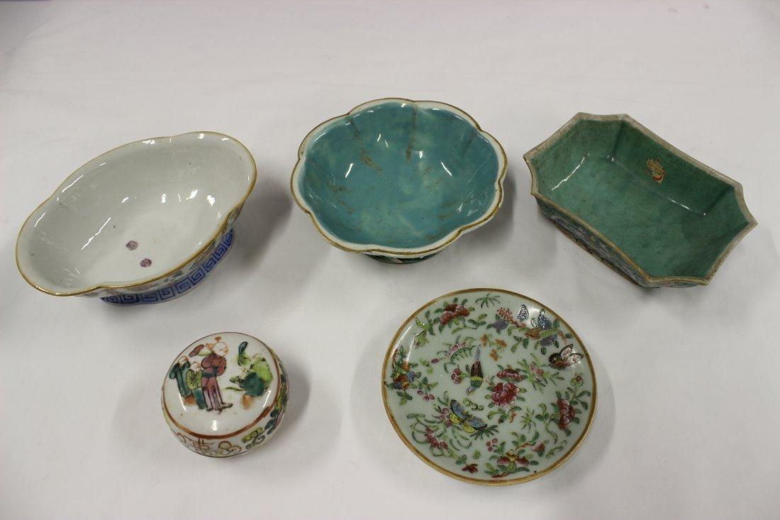 5 Chinese vintage famille rose porcelain