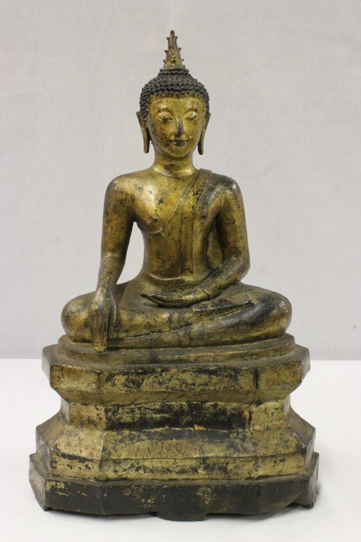 lg Chinese/Tibetan gilt bronze sculpture of Buddha