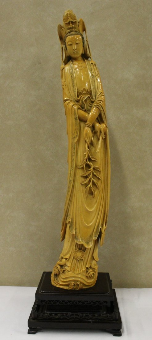 A massive Chinese ivory carved Guanyin