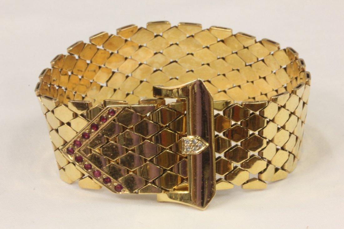 art deco 14K pink gold diamond / ruby bracelet