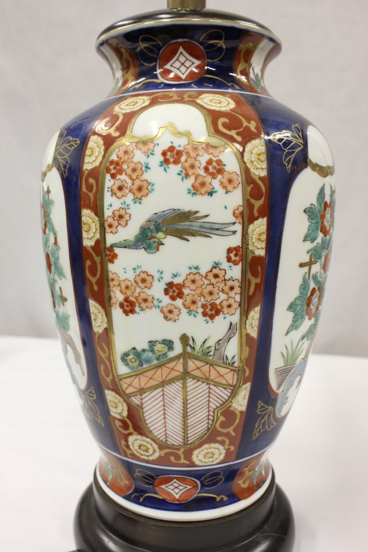 Japanese antique Imari vase made as a lamp - 4