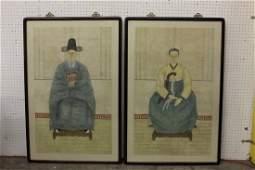 Pair rare framed Korean ancestor wc painting