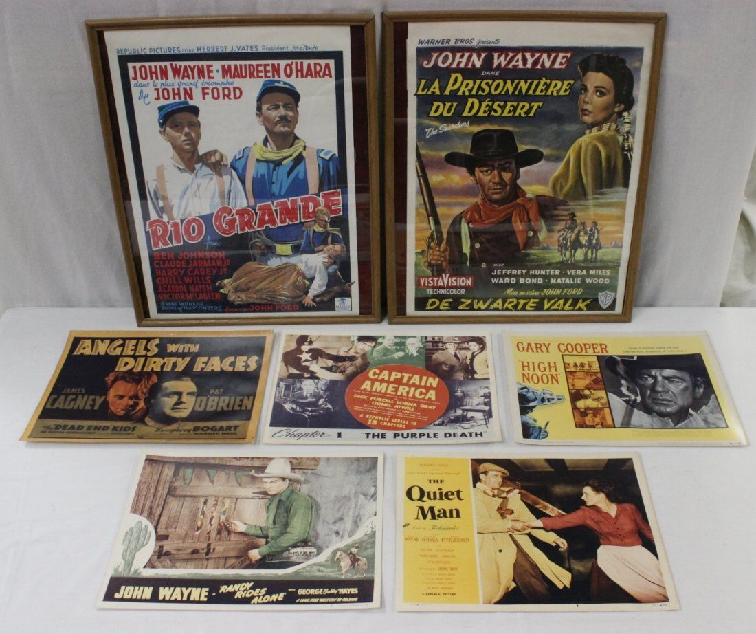2 framed small posters, & 5 movie lobby cards