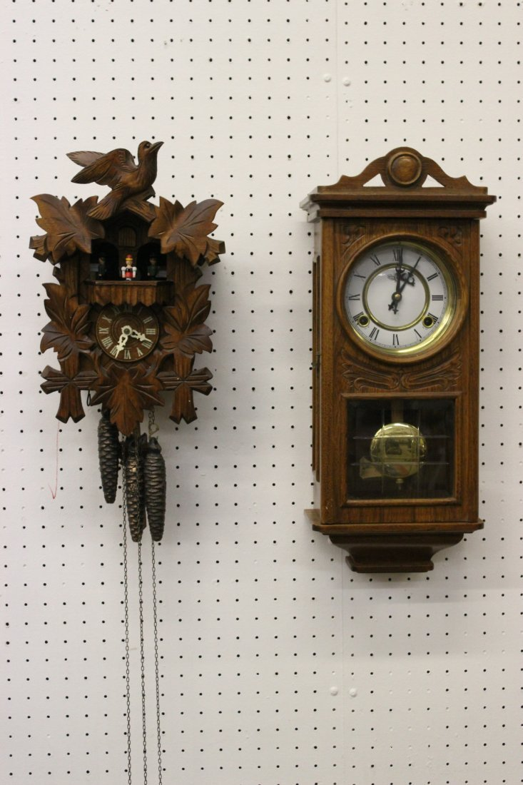 A fine German coo coo clock and a key-wind wall clock