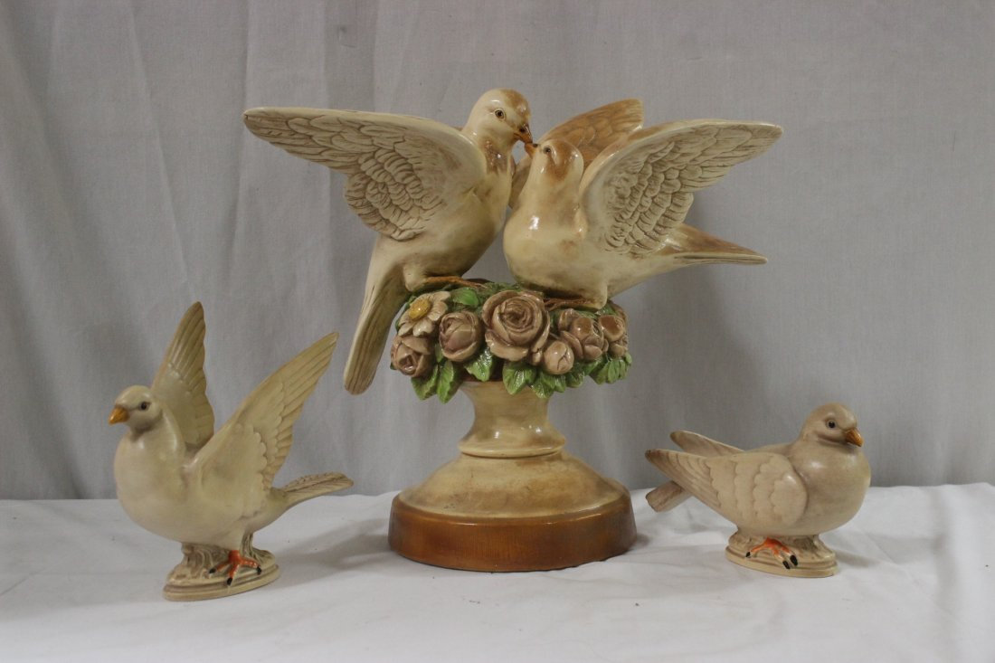 3 large pieces of pottery birds