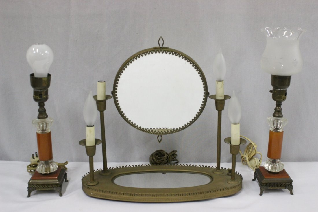 Pair Bakelite table lamps, and a dressing mirror