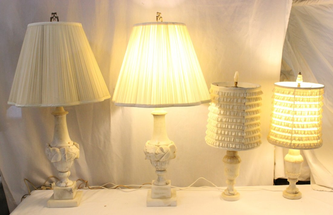 2 pairs alabaster table lamps